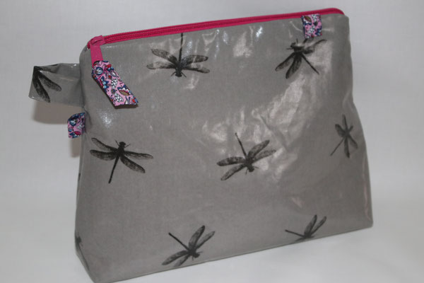 besch. Baumwolle - Dragonfly - grey - Reißverschluss pink