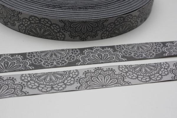 SpitzenWerk grau/anthrazit - beidseitig verwendbar !!! - Design: Kleiner Himmel Design 2012 - 17 mm breit - EUR 1,60/m