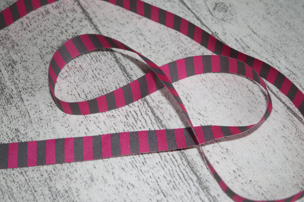 Ringelband pink / grau - 15 mm breit - farbenmix - EUR 1,20/m