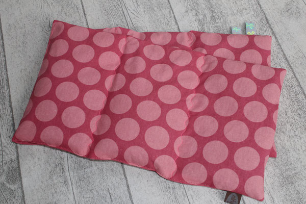 "Design/Farbe: Super Dots raspberry / peachy pink - ""Wellen""-Naht - Webband: Schmeterlinge neon"