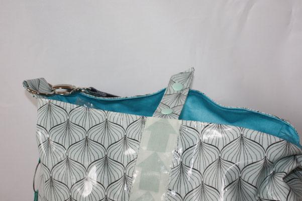 eine Seite mit THIS WAY - Sttreifen - Verschluss-Riegel mit Kam-Snap - GURTBAND 40 mm in graphit !! .. nicht wie abgebildet !