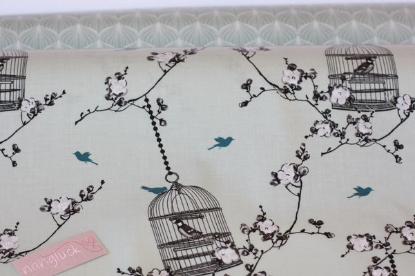 besch. Baumwolle (PVC) Au Maison - Birdcage VERTE