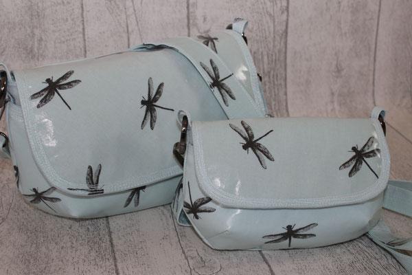 """BAG groß und klein .. die kleine Tasche ist ca. 20 cm breit x 13 cm hoch x 8 cm tief - beschichtete Baumwolle - Dragonfly turquoise VERFÜGBAR  """"genäht nach dem ebook Eleni Bag von Unikati - Jede Naht ein Unikat"""""""