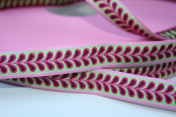Blätterband - rosa - Muster in den Farben pink, grün + brombeere - 15 mm - Design: Franca Tack - EUR 2,90/m