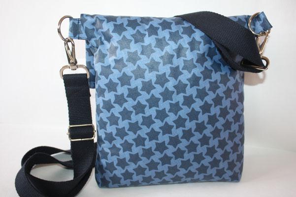 Rückseite der Tasche ... Zubehör in silber + 30er Baumwoll-Gurtband in dunkelblau