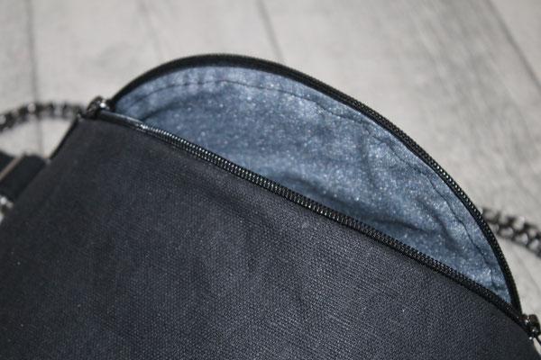 Innen mit besch. Baumwolle Mikesh in rauchblau-metallic