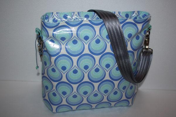 NOCH ZU HABEN: Shopper aus besch. Baumwolle Tear Drops - mit 25 mm breiten Träger aus Sicherheitgurtband - Maße: ca. 28 cm hoch x 30 cm breit x 11 cm tief - 45