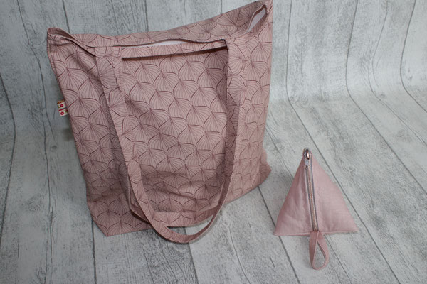 einfache- Tasche aus Alli powder rose / ginger red ACHTUNG: Das Bild zeigt einen BEUTEL ... es ist nur noch eine Tasche verfügbar !!