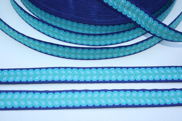Blätterband - blau - Muster in den Farben türkis, hellbau + grün - 15 mm - Design: Franca Tack - EUR 2,90/m