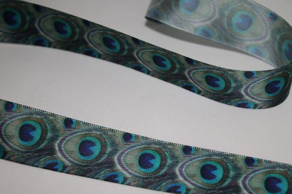 Pfauenfeder - KEIN WEBBAND - 100% Polyester - 25 mm breit - EUR 1,60/m