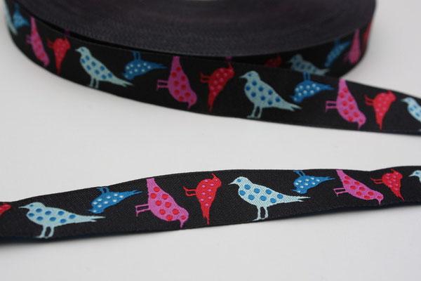 Punktevögel - schwarzgrundig - Design: Steffi Mitzscherling - 15 mm breit -EUR 2,90/m AUSVERKAUFT