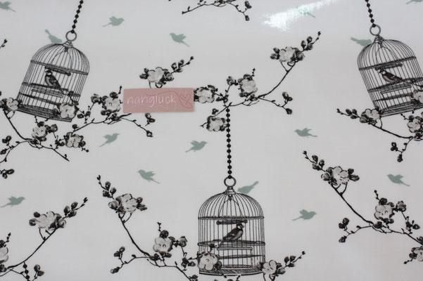 besch. Baumwolle  Au Maison - Birdcage charcoal / ice green - weißgrundigg