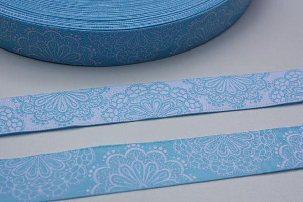 SpitzenWerk hellblau/weiß - beidseitig verwendbar !!! - Design: Kleiner Himmel Design 2012 - 17 mm breit - EUR 1,60/m