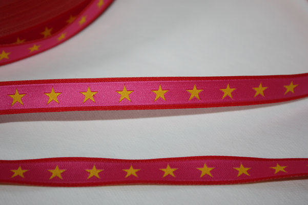 Sterneband - gelbe Sterne auf pink mit rotem Abschluss - Design: Farbenmix 2014 - EUR 1,30/m