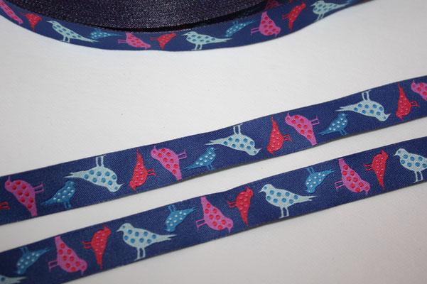 Punktevögel - dunkelblau - Design: blaubeerstern/Steffi Mitzscherling - 15 mm breit - EUR 1,80