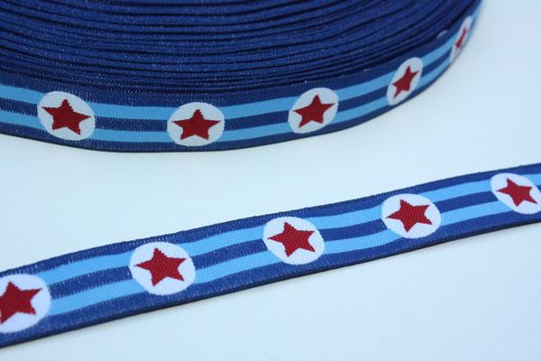 Sterne blau - Design: Franca Tack - 15 mm breit - EUR 2,90/m - AUSVERKAUFT