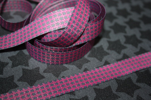 MINI staars pink-grau - Design: Farbenmix - 15 mm breit - EUR 1,60/m