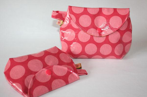 Täschchen - Design: Superdots raspberry / peachy pink - kleines Täschchen NOCH Verfügbar :)