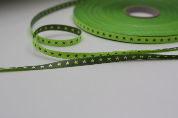 STERNchen neongrün/pink - beidseitig verwendbar !! - Design: Farbenmix 2013 - 7 mm breit - EUR 1,20/m