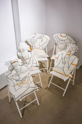 la famille FAIRNIENTE || NINO, RITA, Célesta, Mario et Lena 216€ pièce || recto coton peint, verso soie