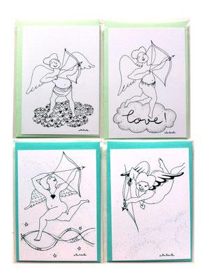 collection personnages de compagnie COUPIDON EST DE RETOUR ! Carte postale 350g et enveloppe couleur