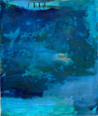 Blaue Welt 3 -  Öl, Pigmente auf Leinwand 110x110cm
