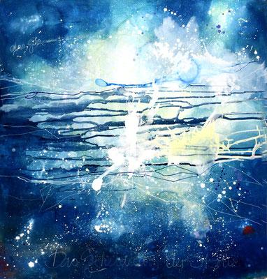 Das Geheimnis der Sterne  - Pigmente auf Leinwand 160x170cm
