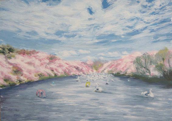 《春の群れ》  A4/4月16日制作
