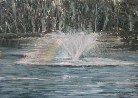 《噴水の虹》  A4/1月17日制作