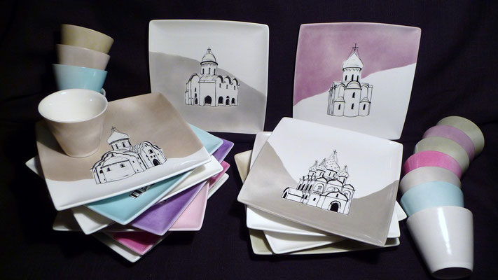 Eglise orthodoxe en Russie...en couleur et leur mini verrine assortie - 16cm (atelier)