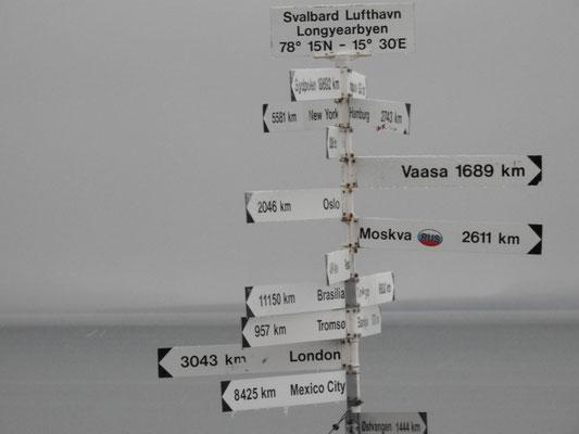 Na, Da sind wir fast überall gewesen. Seht Ihr die Entfernung zum Südpol (Sydpolen)? Stolze 16.692 km, wo wir in diesem Jahr waren!