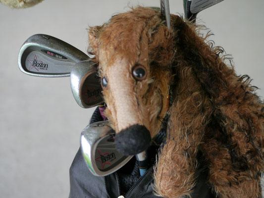 ich, Fredi, mit meiner Golfausrüstung