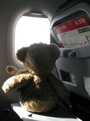wir im Flieger auf dem Weg nach Sylt