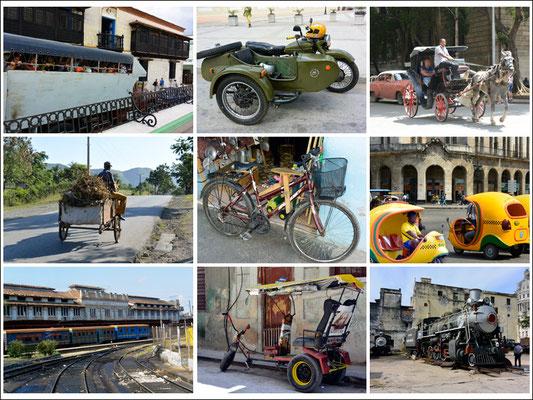 """Zugegeben, keine 'Oldtimer', aber doch alles Oldtimer-Fortbewegungsmittel. Schaut mal links oben, das ist ein LKW-""""BUS""""! Und die gelben 'Kugeln' sind Coco-Taxis so wie die Fahrräder Bici-Taxis sind."""