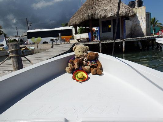 Wir, Kasimir - Cäsar - Fredi und Kerl, haben es uns für die Bootsfahrt auf dem Rio Lagartos ins Yucatán schon einmal gemütlich gemacht