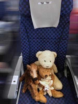 Kasimir, Cäsar, Fredi und Kerl im Flugzeug auf ihrem Sitz