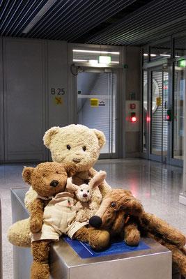Kasimir, Cäsar, Fredi und Kerl am Abfluggate nach Budapest