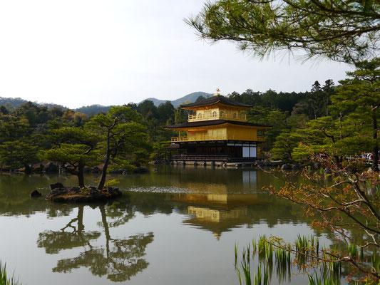 Kinkaku-ji (wörtlich: Goldener Pavillon-Tempel), ein buddhistischer Tempel im Nordwesten von Kyôto, dessen korrekter Name Rokuon-ji (Rehgarten-Tempel) lautet