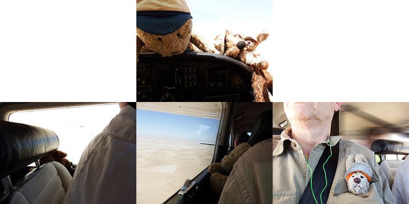 wir inspizieren das Flugzeug und nehmen unsere Fensterplätze ein