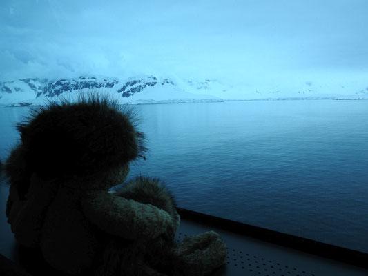wir gucken von drinnen auf die Antarktis