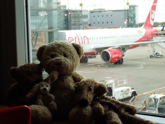 Kasimir, Cäsar, Fredi und Kerl am Flughafen - airberlins letzter Flug!