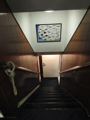 ups, steiles Treppchen zur Kabine