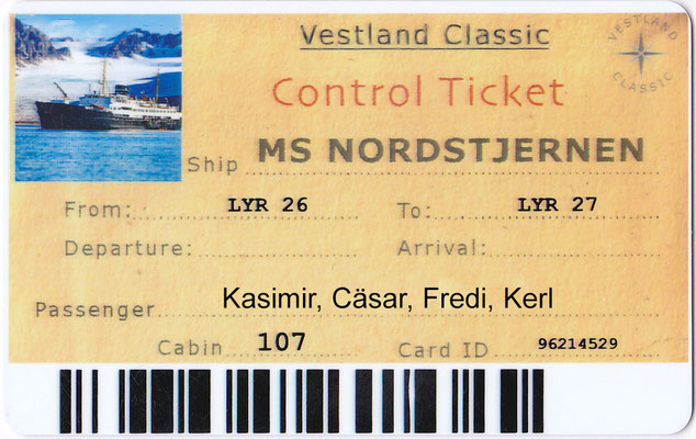 Kasimirs, Cäsars, Fredis und Kerls Sea-Pass der MS Nordstjernen