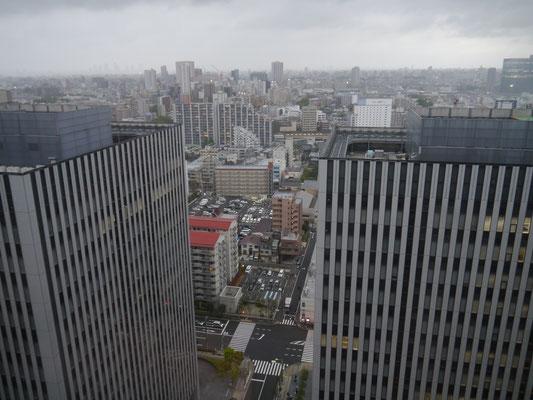 Unser Blick aus dem Hotelzimmer: Tokyo bei Tag