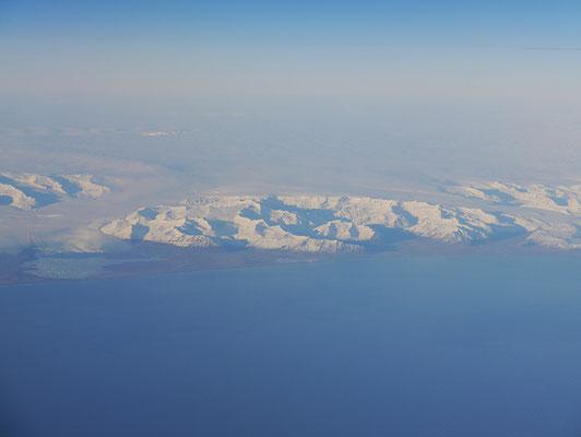 Island von oben aus dem Flugzeug