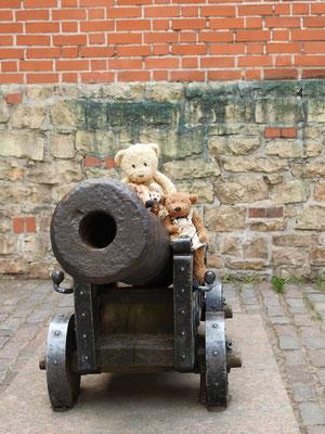 Wie auf den Falklands so auch in Riga: wir - Kasimir, Cäsar, Fredi und Kerl - auf einer Kanone.