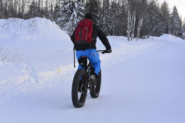 Fahrradfahren in Lappland