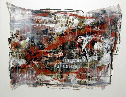 Fingerabdruck auf unseren Seelen #01, Acryl, Wachs, Pigmente auf Leinwand, 100 x100 cm