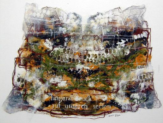 Fingerabdruck auf unseren Seelen #02, Acryl, Wachs, Pigmente auf Leinwand, 100 x100 cm