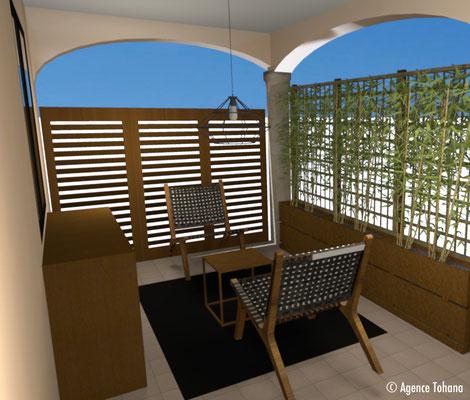 Vue 3D terrasse - Agence Tohana - Décoration d'intérieur Ile de La Réunion - 974